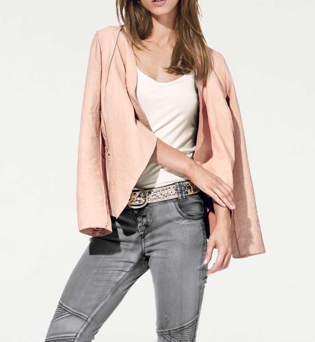 Kožená bunda v pastelové barvě b0207efdb7