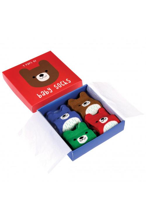 Dětské ponožtičky Medvídek, kojenecké bavlněné ponožky 4 páry v balení (3 balení kladem)