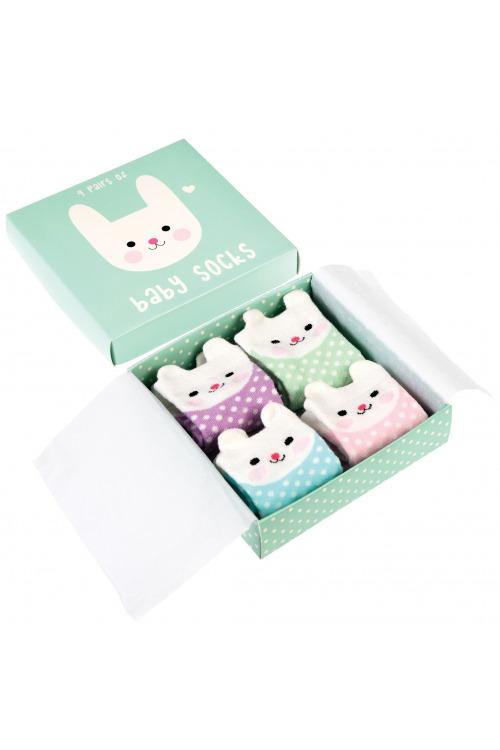 Dětské ponožtičky Králíček, kojenecké bavlněné ponožky 4 páry v balení (5 balení skladem)