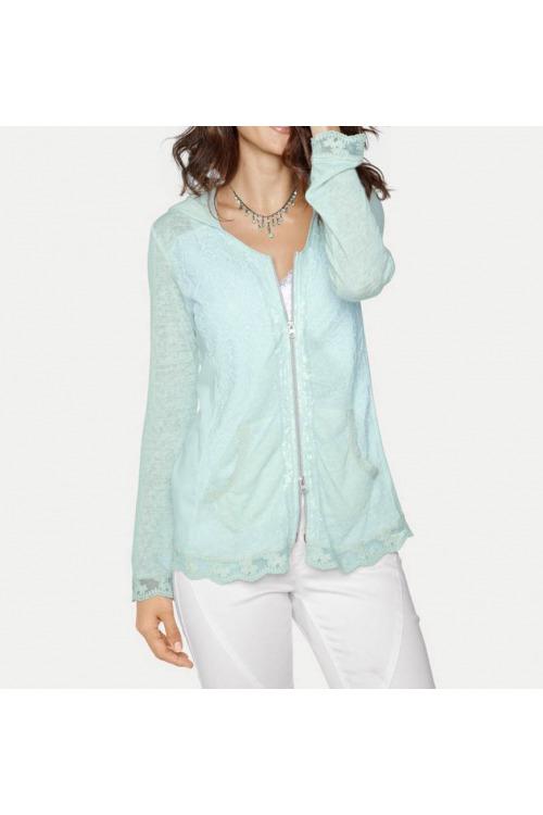 Lehká letní tričková bundička s krajkou a kapucí, Linea Tesini