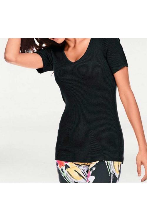 Černý žebrovaný svetr s krátkým rukávem, Ashley Brooke