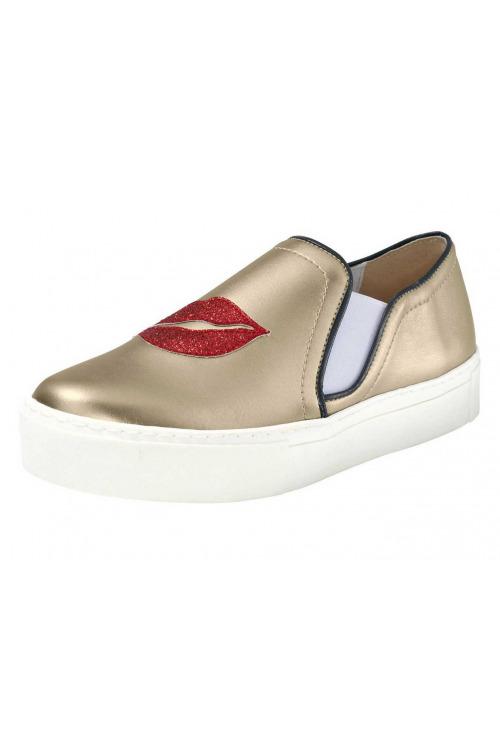 HEINE, dámské zlatě zbarvené boty slipper