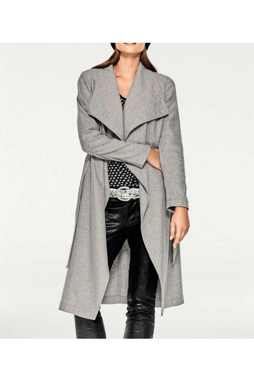 b81ca549f723 Lehký šedý vlněný kabát bez podšívky