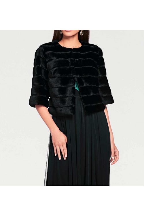 Dámský kožíšek v norkovém vzhledu přes šaty, Ashley Brooke