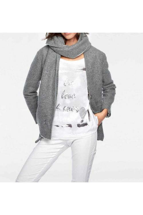 Šedá vlněná bunda se šálem, Linea Tesini