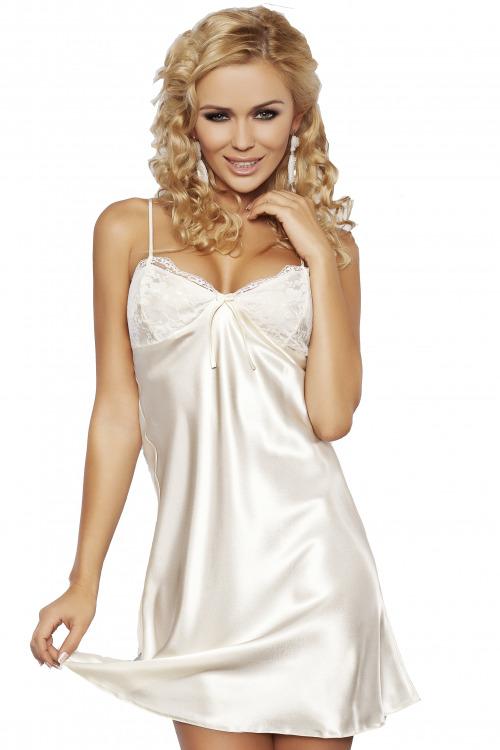 Saténová noční košilka Agnes bílá (vel.M skladem)