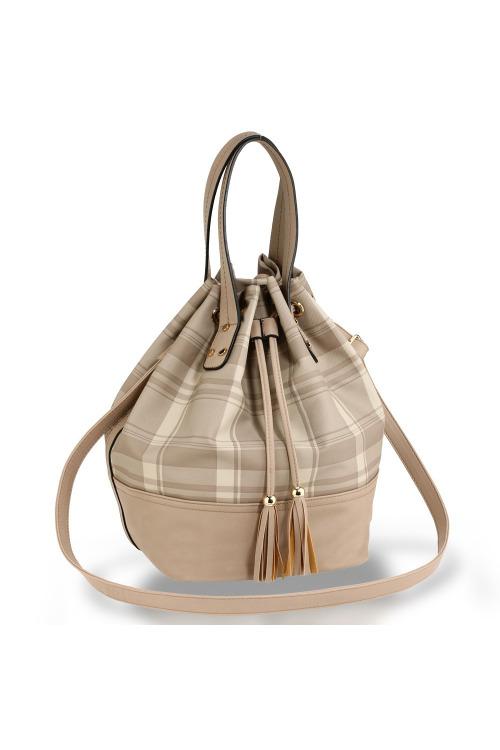 Kostkovaná taška uzavíratelná na šňůrku Anna Grace