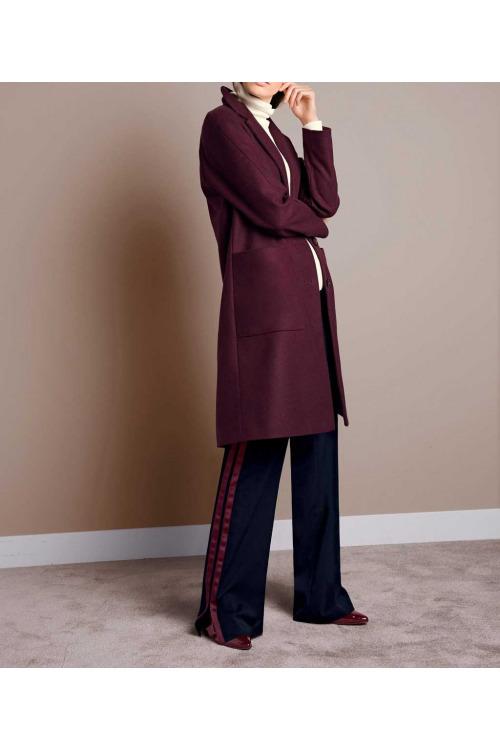 Vínový vlněný dámský kabát, Rick Cardona