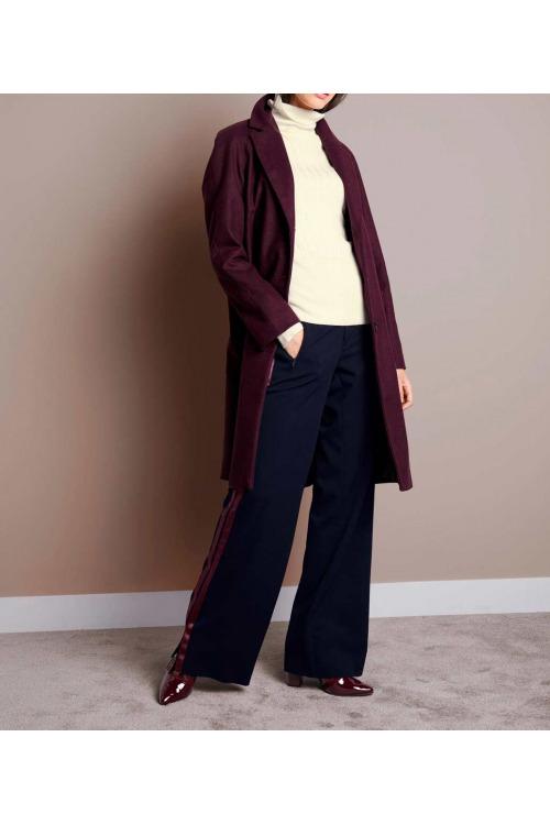 87faafc6f2b2 Vínový vlněný dámský kabát