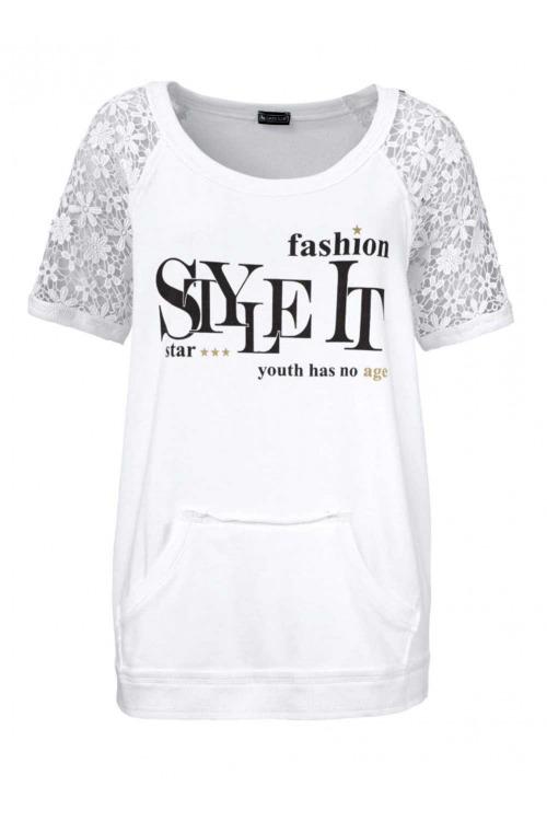 Teplákové triko s krajkou, Laura Scott