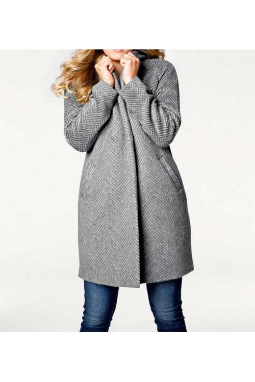 Kabáty pro plnoštíhlé, vlněný dámský kabát rybí kost, Linea Tesini