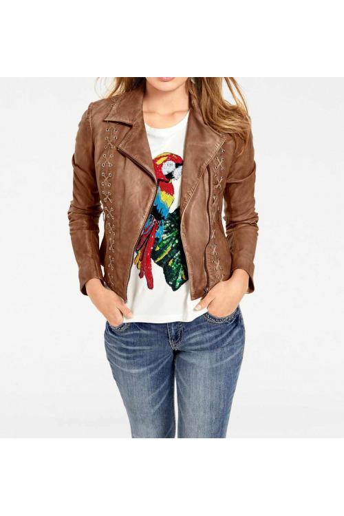 Kožené bundy, krátká hnědá kožená dámská bunda, HEINE