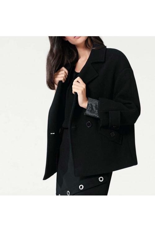 Oversize zimní vlněná černá krátká bunda, HEINE