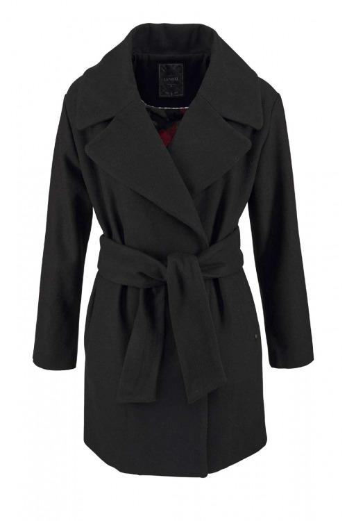 Kaporal, dámský vlněný černý kvalitní teplý kabát