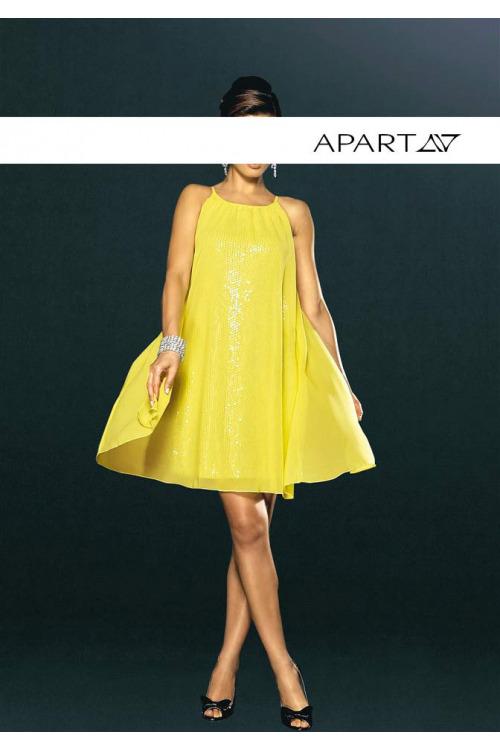 Krátké žluté večerní šaty s flitry, APART