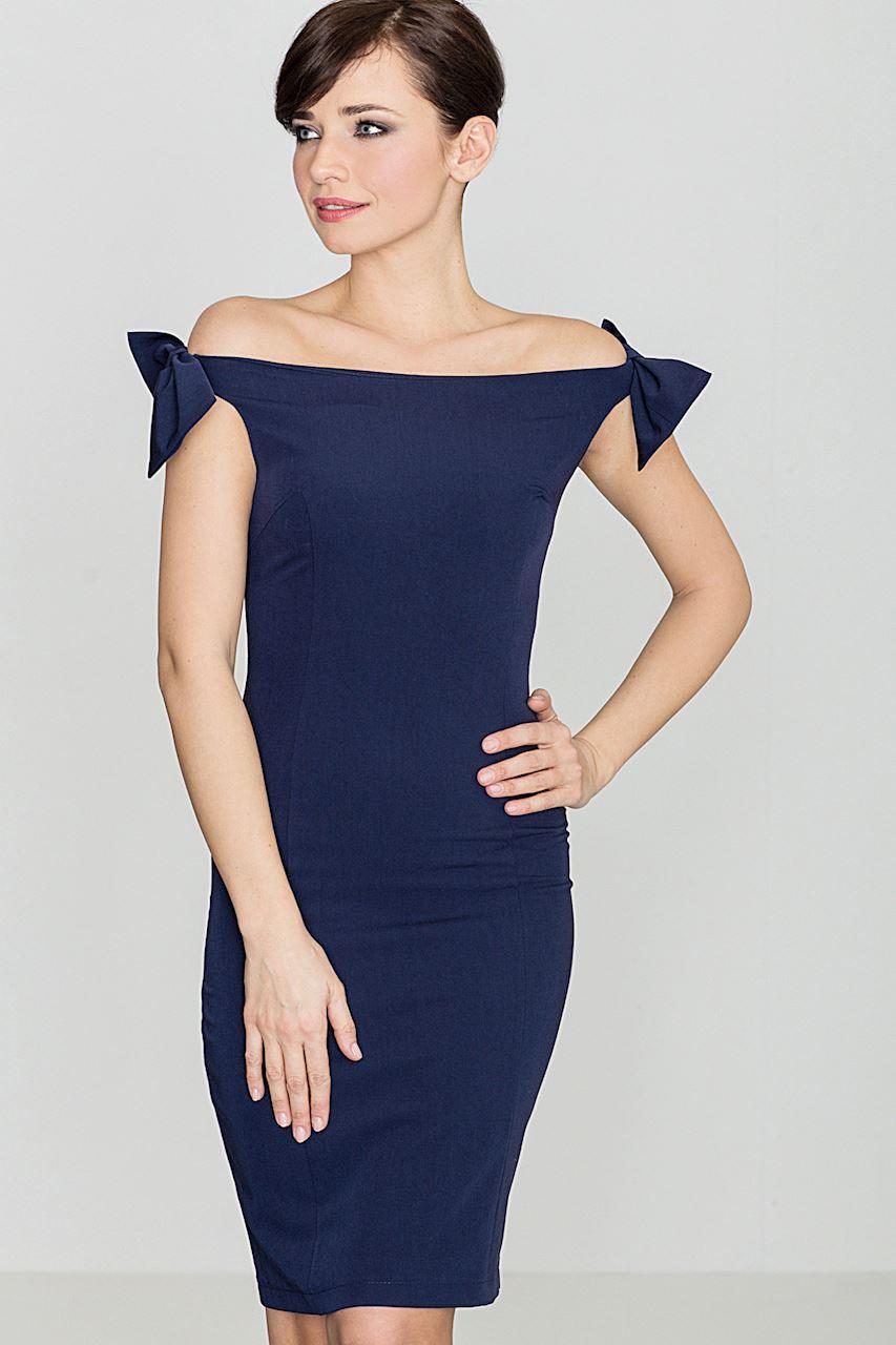 Pouzdrové šaty KATRUS s mašlemi na ramenou