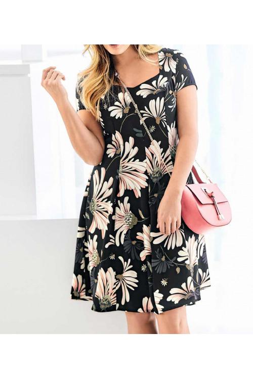 Šaty s potiskem květů, také pro plnoštíhlé