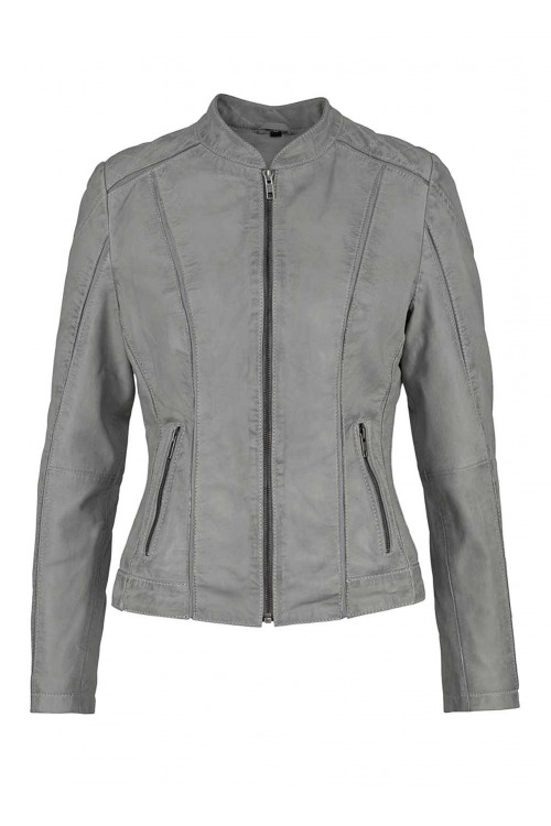Krásná šedá kožená bunda, také pro plnoštíhlé, BOYSENS