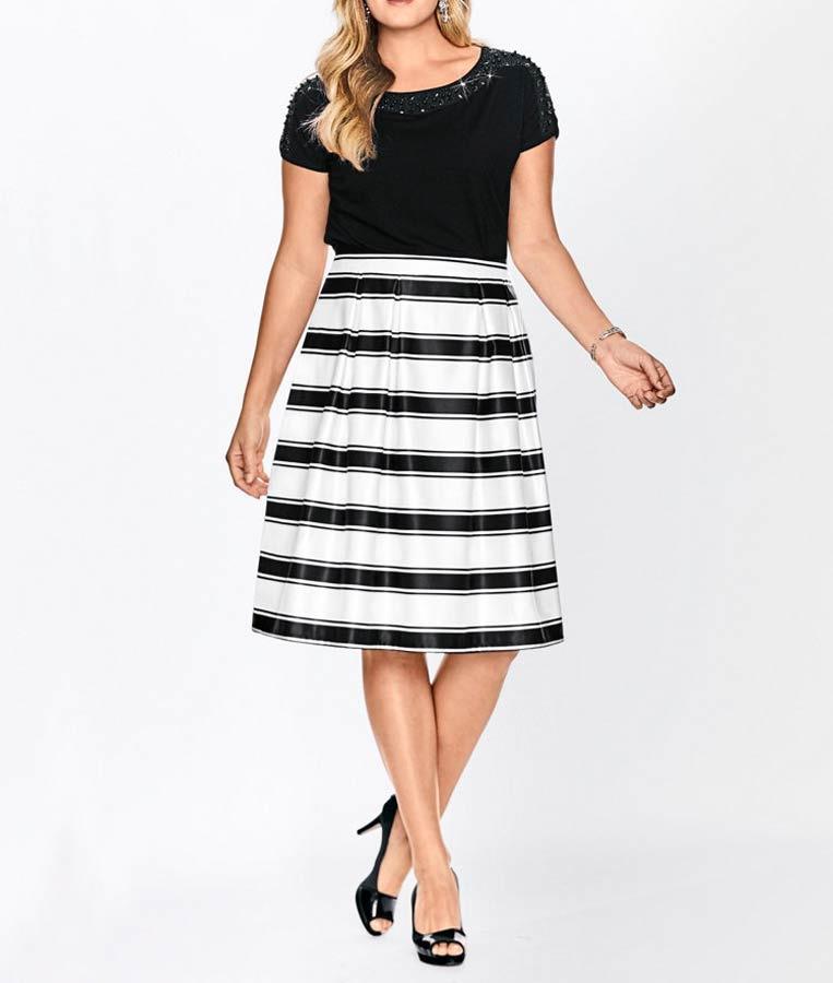 0ea7855c7610 Pruhovaná sukně se sklady