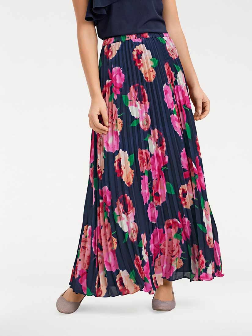 4c37320b96c2 Dlouhá plisovaná sukně s květinovým vzorem