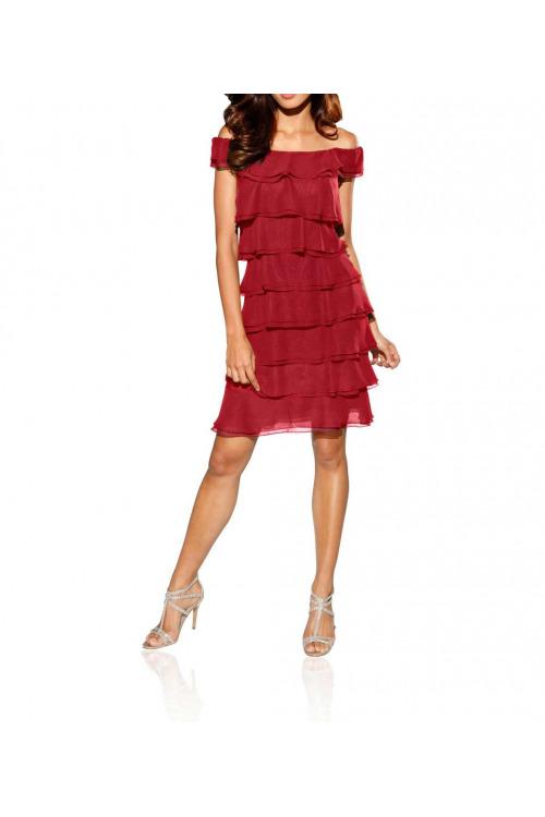 155e17a0d6aa Šifonové volánové šaty s Carmen výstřihem