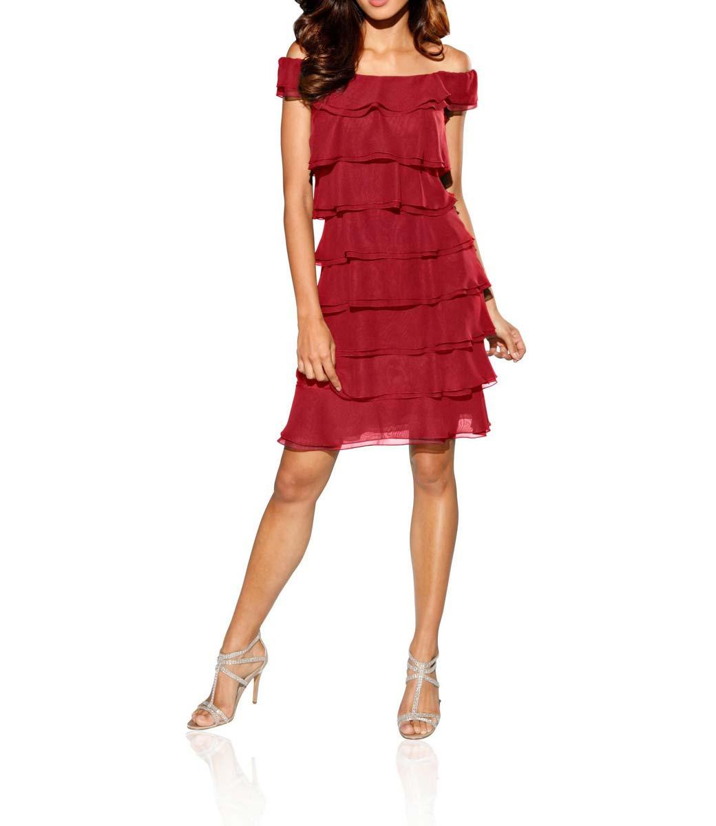 f241ebfff6d4 Šifonové volánové šaty s Carmen výstřihem